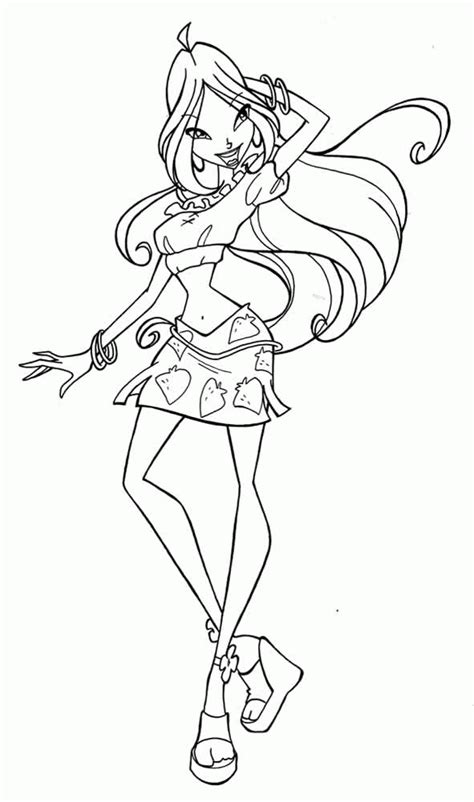 to print winx flora coloring pages for free winx flora