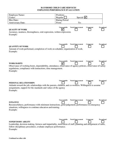 8 Best Images About Day Care Forms On Pinterest Day Care Assessment And Parents Child Care Program Evaluation Template