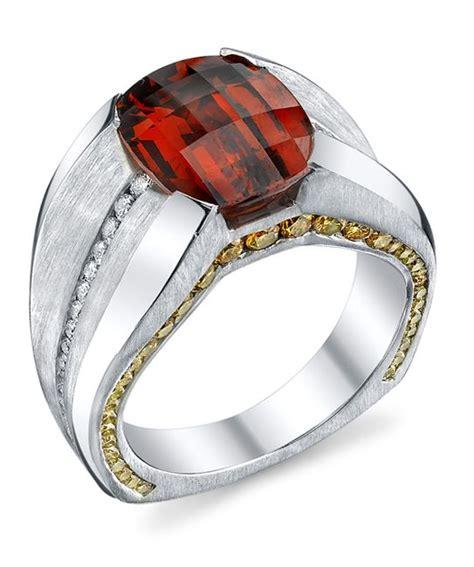 Custom Bahan Kulit Coklat Ring Gold elusive spessartite garnet gents ring schneider design platinum gents ring with a