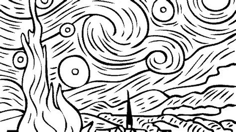 coloring pages van gogh starry starry night vincent van gogh starry starry night coloring famous
