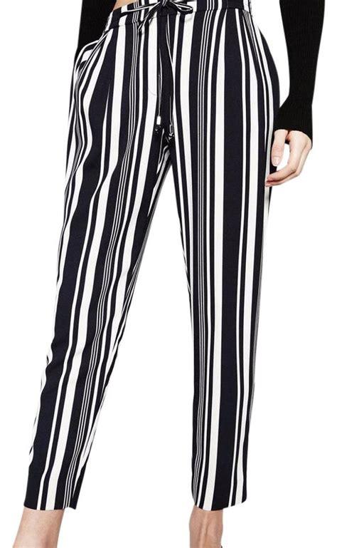 Zara Drawsting Original zara navy white striped drawstring trousers size 2