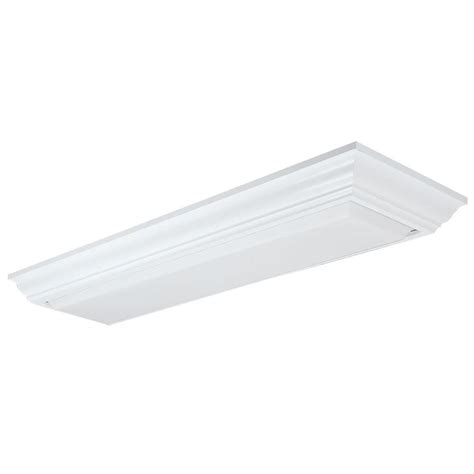 Lithonia Fluorescent Light Fixtures Lithonia Lighting 2 Light White Fluorescent Cambridge Linear Flushmount 11430re Wh The Home Depot