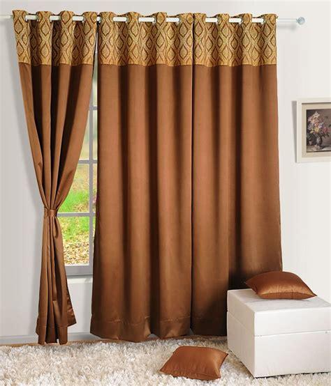 long silk curtains swayam brown plain silk long door curtain buy swayam