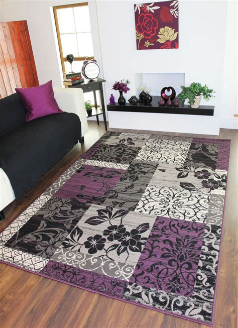 lounge rugs sale purple black light grey patchwork rug stain resistant milan lounge mat sale ebay