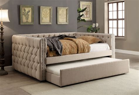 contemporary daybeds suzanne contemporary style tuxedo inspired design ivory linen button tufted full size daybed