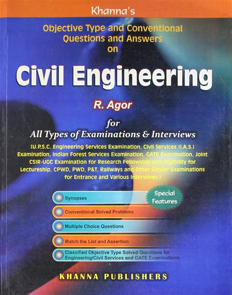 objective type  conventional questions  answers  civil engineering   agor book