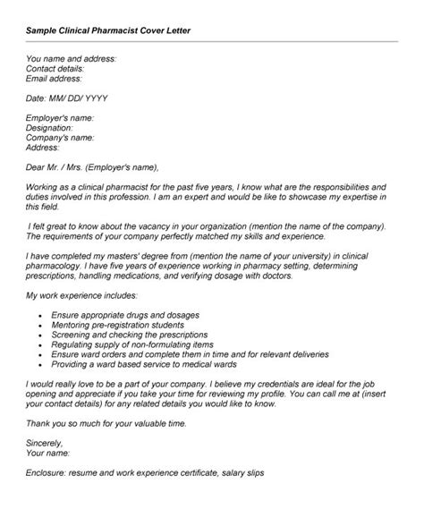 job winning clinical pharmacist cover letter exle