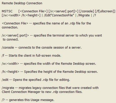 mstsc console command how to remote desktop to the actual server console on