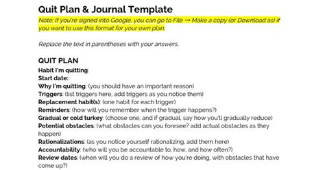 journal template for google docs quit plan journal template google docs