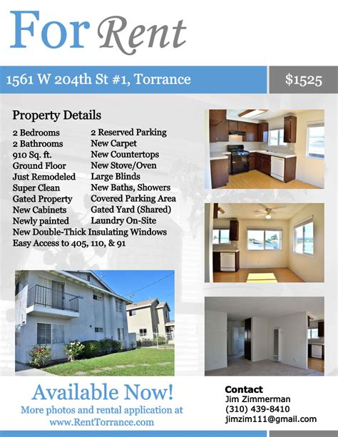 rental property flyer template apartment for rent in torrance