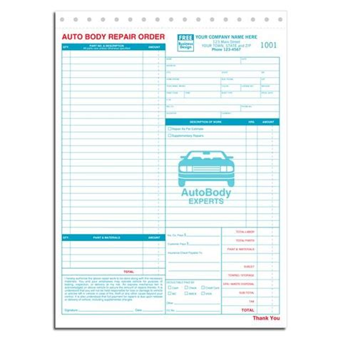 template mechanic receipt template auto repair free templates