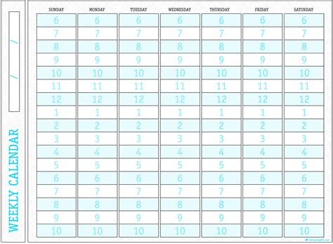 printable calendar with time slots 7 best images of printable weekly calendar with time slots