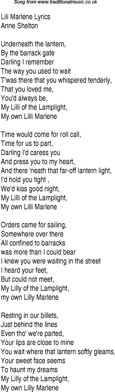 lilly testo 1940s top songs lyrics for lili marlene shelton