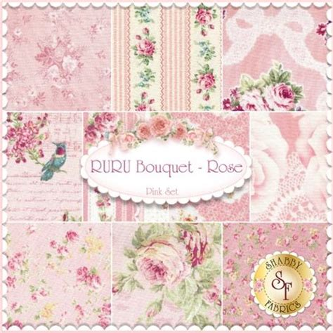 ruru bouquet 10 fq set pink by quilt gate fabrics ruru