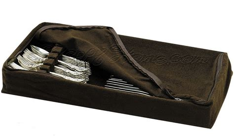 Silver Drawer Liner by Reed Barton Zippered Drawer Liner Flatware Storage Brown