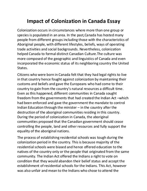 Interest Groups In Canada Essay by Impact Of Colonization In Canada Essay