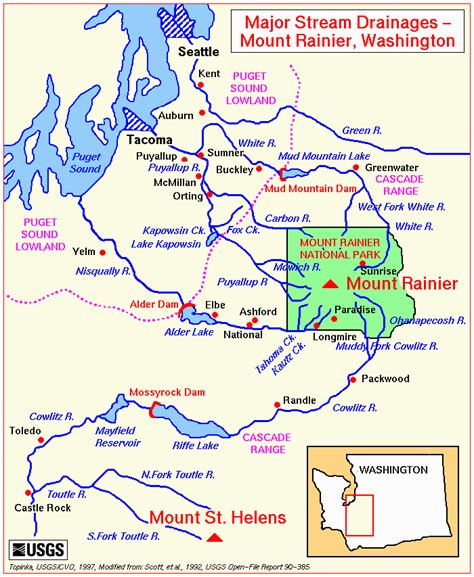 map of rainier oregon the volcanoes of lewis and clark mount rainier drainages