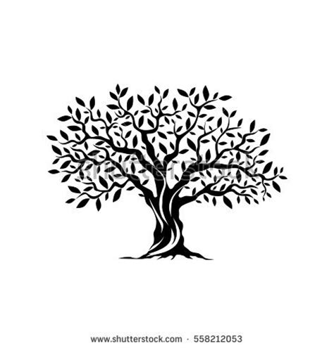olive tree silhouette icon isolated on stock vector