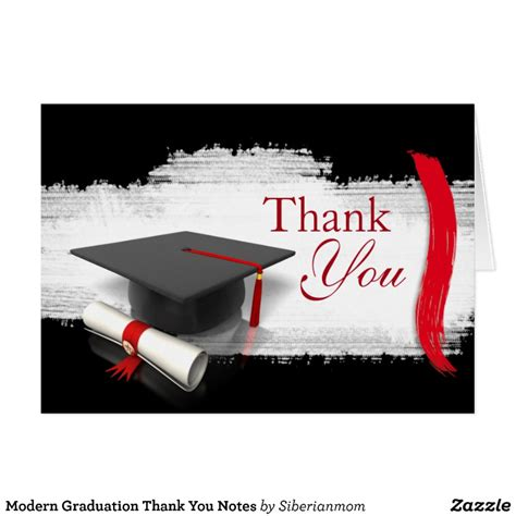 Thank You Note To On Graduation Day Modern Graduation Thank You Notes Zazzle