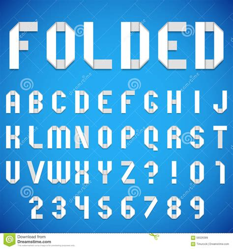 Folded Paper Font - folded paper font stock vector image 56026389