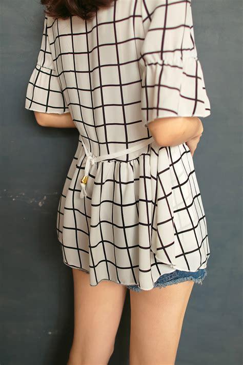 Womens Stylish White Plaid Chiffonchiffon Vest 541004s04 tokyo fashion womens black and white plaid chiffon top japanese korean fashion ebay
