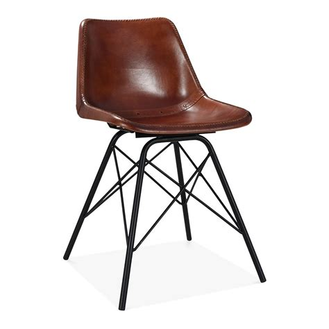 industrial leather dining chair brown leather metal dining chair industrial