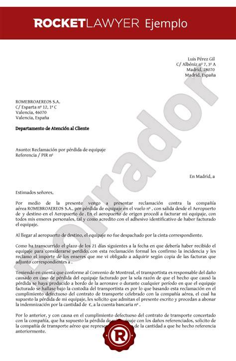 carta para reclamar p 233 rdida o retraso equipaje solicita