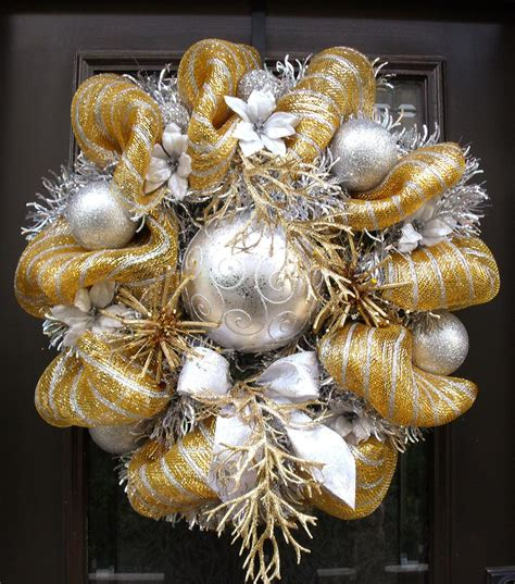 gold and silver christmas wreath mesh wreaths christmas deco
