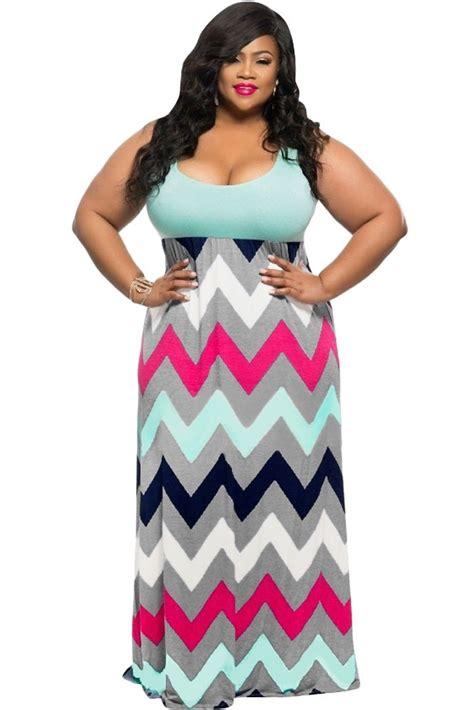 plus size clothing 3x 5x chevron print maxi dress