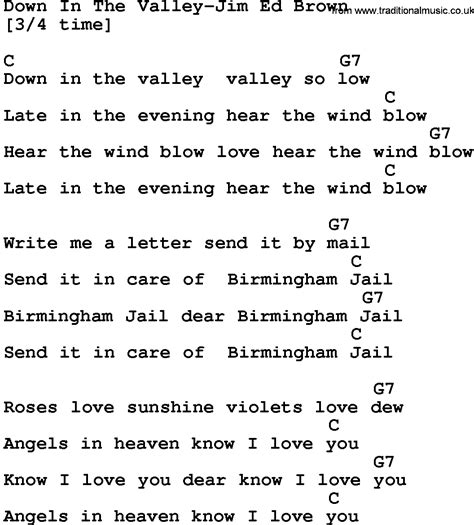 song of velly country in the valley jim ed brown lyrics and