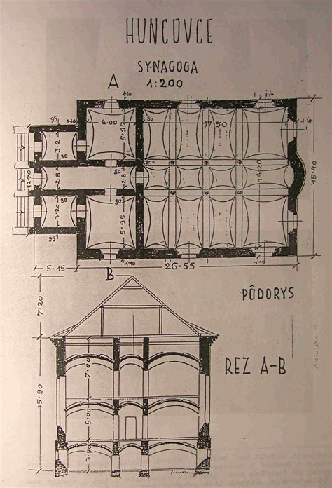Synagogue Floor Plan by Huncovce Slovakia Shtetlink