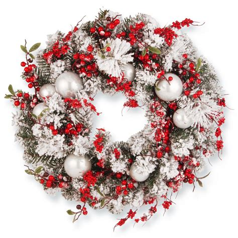 holiday wreath home accents holiday 20 in silver plastic ball christmas