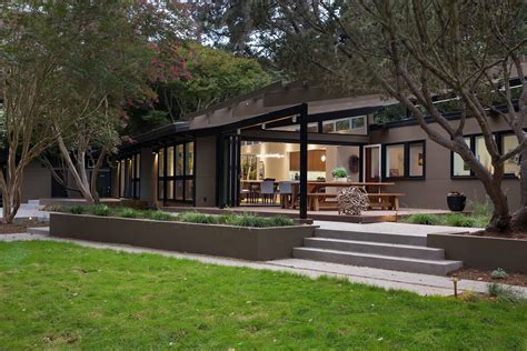 midcentury house mid century modern remodel in california opens up