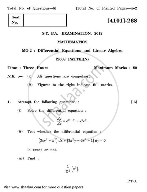 Mathematics Gp Essay by Question Paper Mathematics General Paper 2 Differential Equations And Linear Algebra 2011