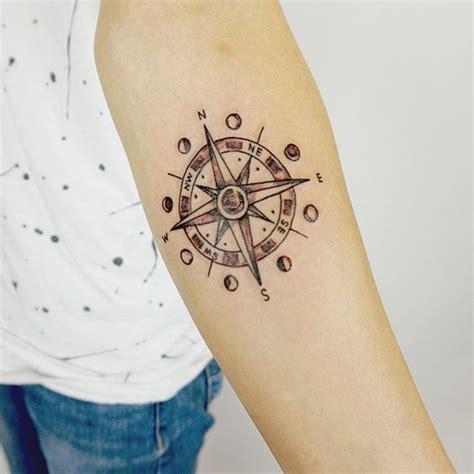henna style compass tattoo moon phase compass by yktattoo1 inkspiration