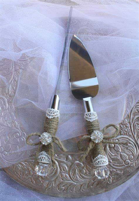 Wedding Cake Server by Wedding Cake Server And Knife Set Country Rustic Chic