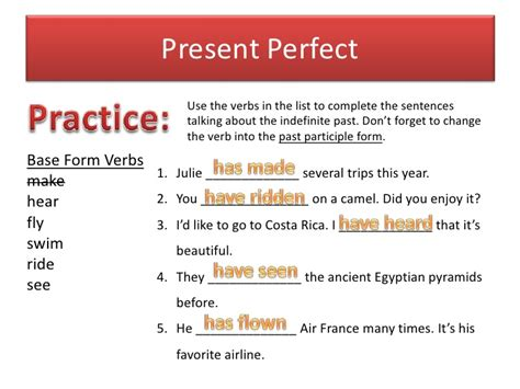 present perfect tense sentence pattern present perfect indefinite past