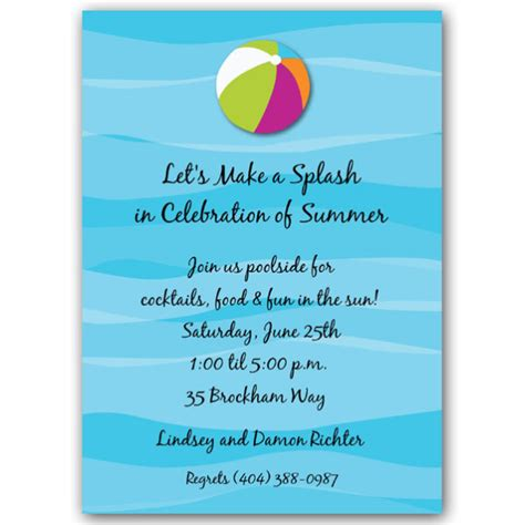 beach themed birthday quotes floating beach ball pool party invitations paperstyle