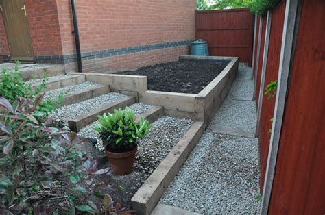 Raised Bed With Stairs by Simon S Raised Bed Stairs From New Oak Railway Sleepers