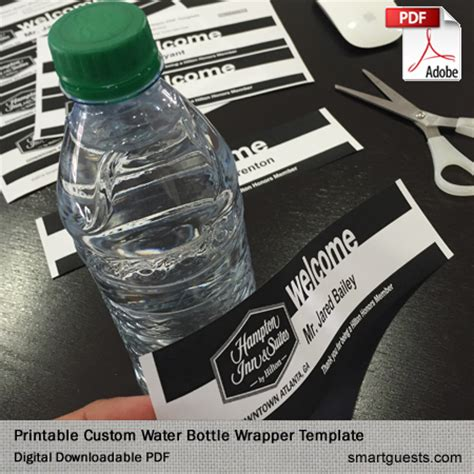 Printable Custom Water Bottle Wrapper Pdf Template Print At Hotel Water Bottle Wrapper Template