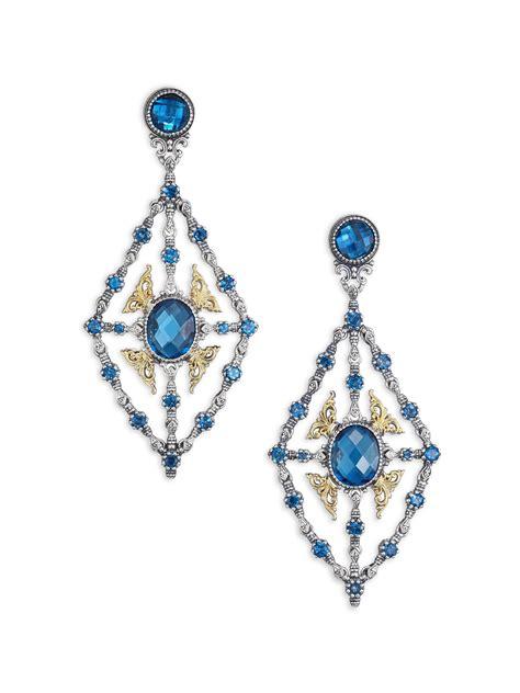 Chandelier Silver Earrings Konstantino Thalassa Blue Topaz 18k Yellow Gold Sterling Silver Chandelier Earrings In