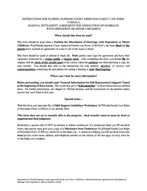 Fillable Marital Settlement Agreement For Dissolution Of Marriage With Dependent Children Fl Marriage Dissolution Agreement Template