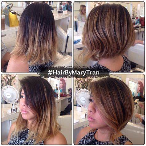 graduated bob a line haircut with touched up balayage
