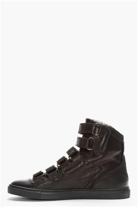 mens black velcro sneakers dsquared 178 black leather velcro sneakers in black for