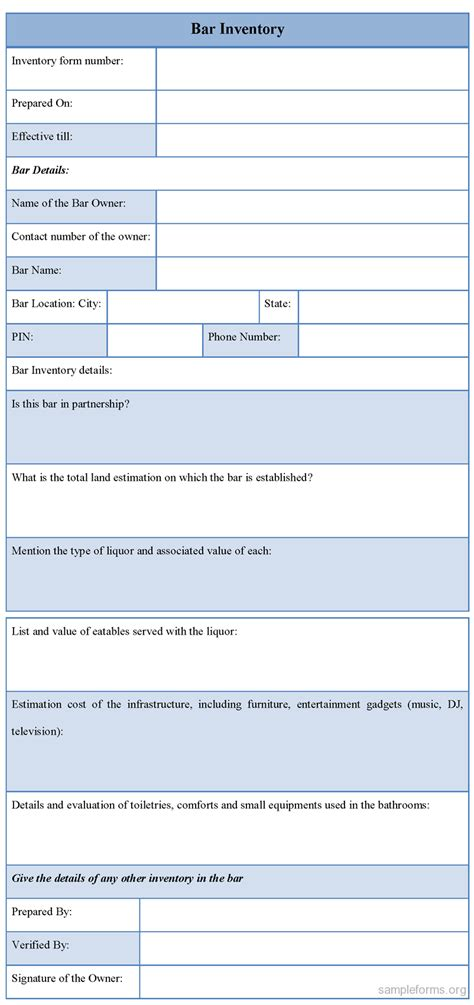 form bar bar inventory form sle forms