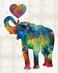 Big Buddha Flower Bag - colorful elephant art elovephant by sharon cummings