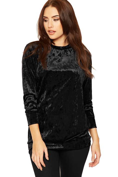 womens sleeve velvet top plain crushed velour basic baggy jumper new ebay