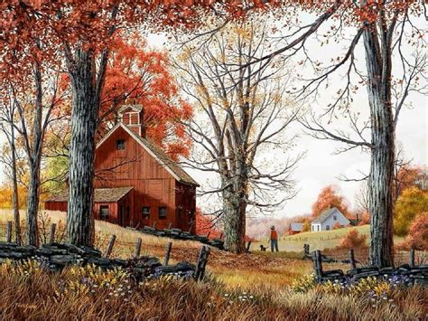 country farm paintings with barn autumn farm fall