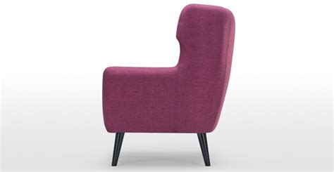 plum armchair kubrick wing back chair in plum purple made com