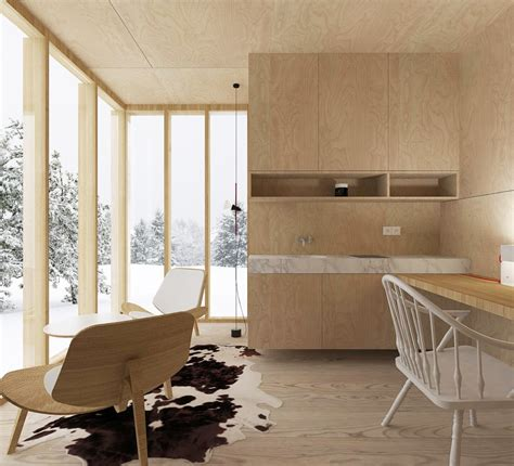 modern minimalism meets wooden warmth inside small winter ski hut by fo4a architecture 04 myhouseidea